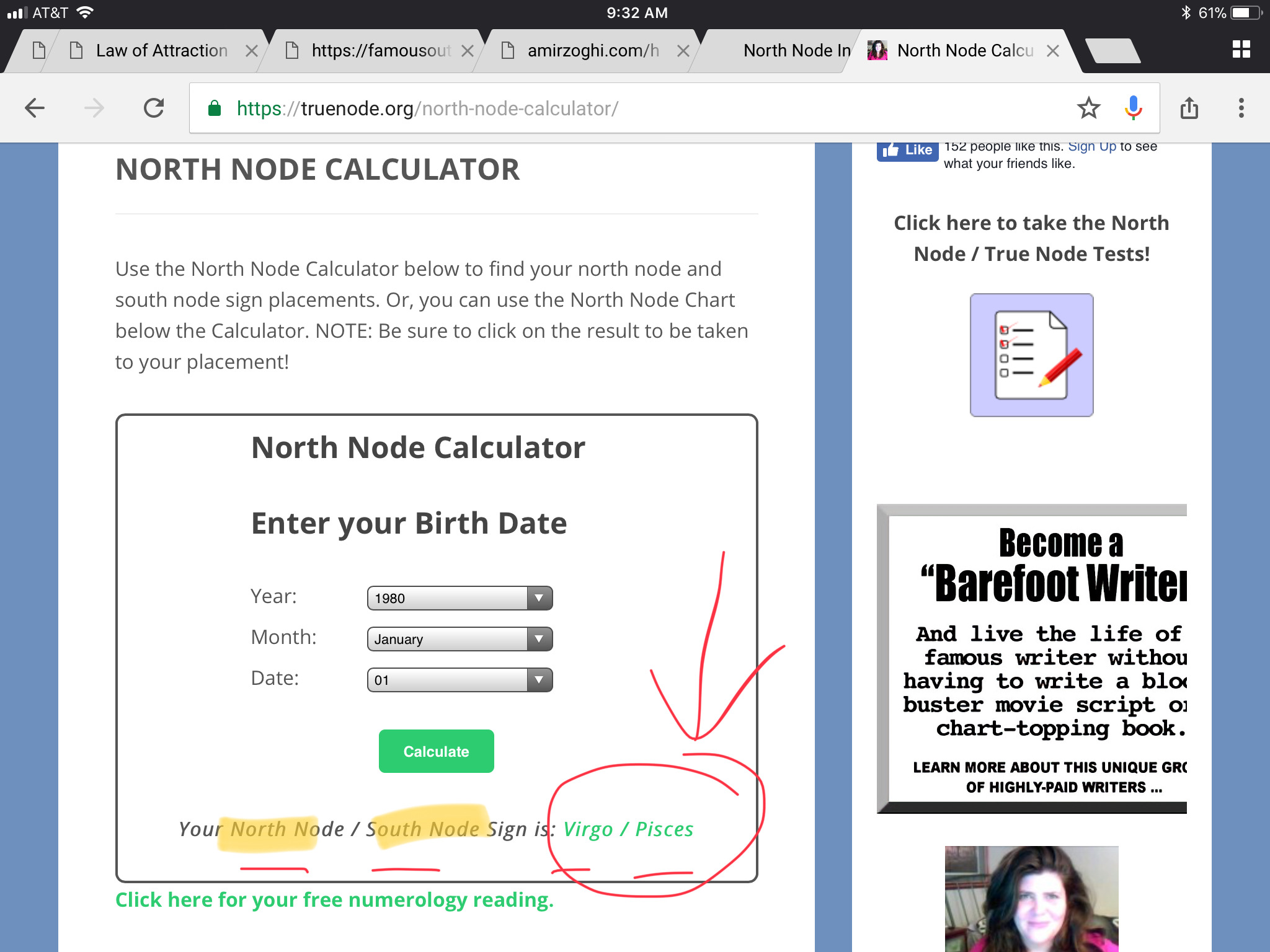 Podcast 140 website instructions for north node subconscious step 2 note your north node and south node in green nvjuhfo Images